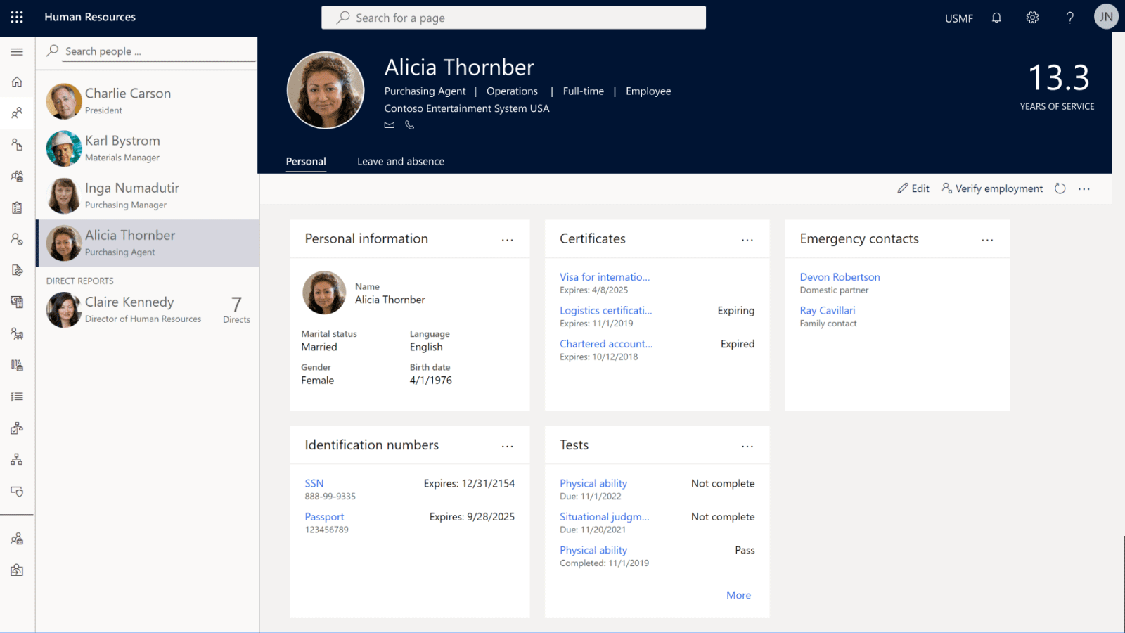Dynamics 365 Human Resources visualize