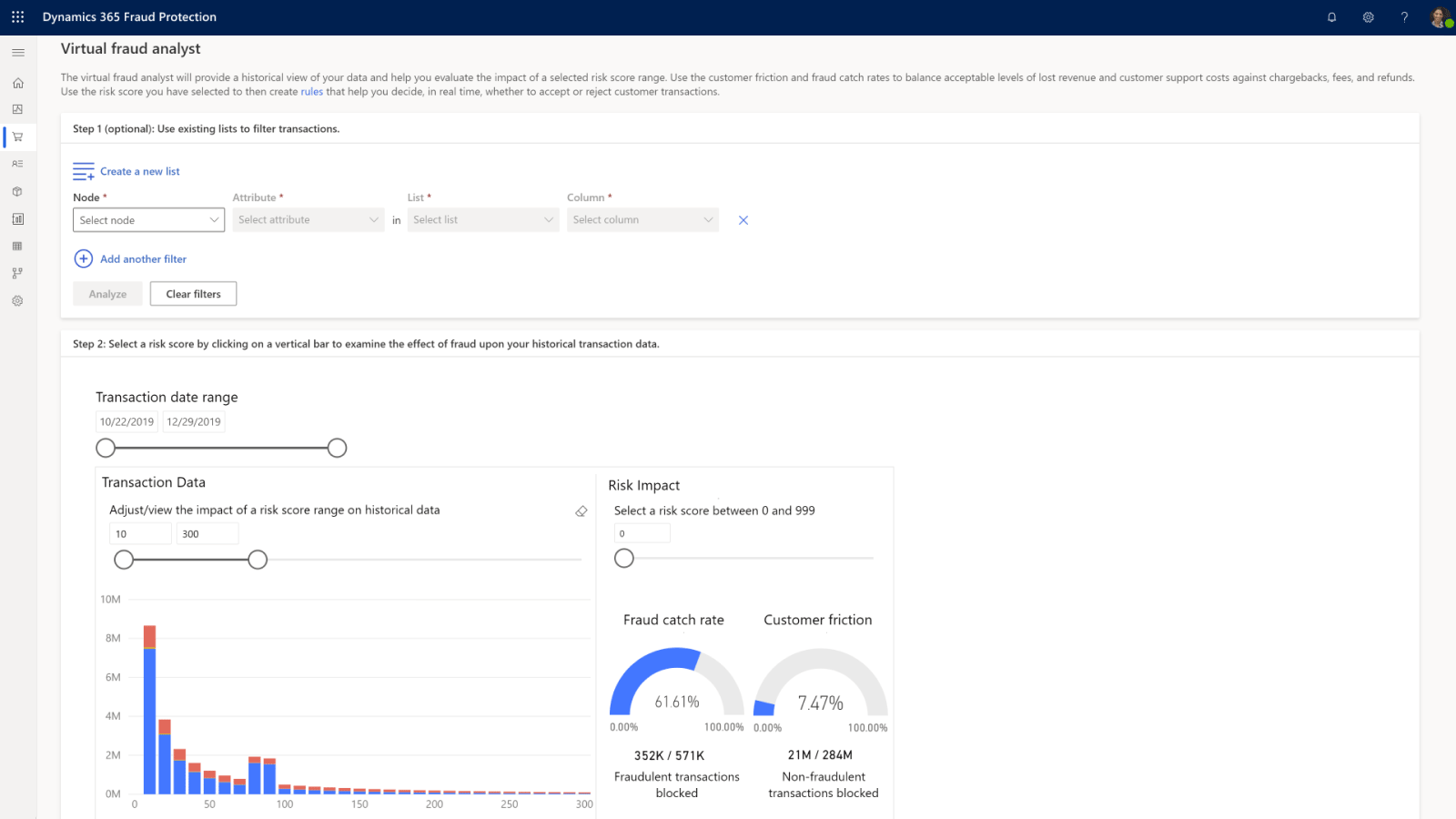 Dynamics 365 Fraud Protection の視覚化