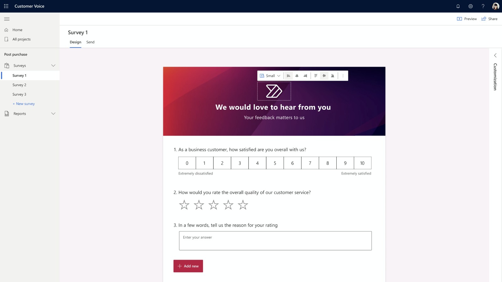Easily create personalised surveys